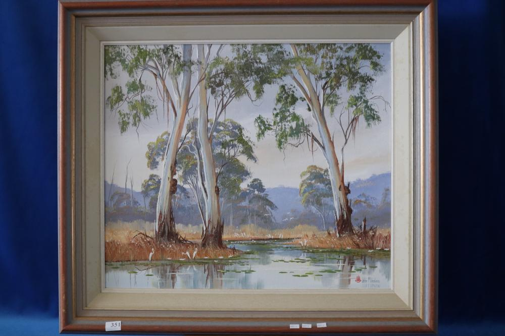 JOHN MILENKOVIC OIL PAINTING OF GULLY AND TREES