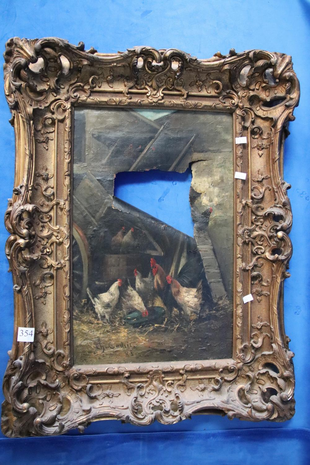 EARLY 19TH CENTURY HEAVY GOLD GILT FRAMED SIGN OIL AS FOUND