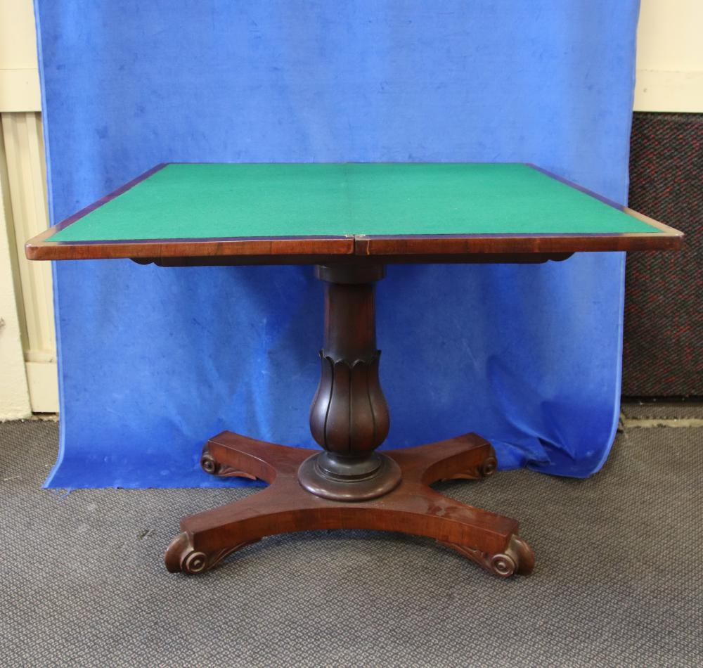 19TH CENTURY ENGLISH ROSEWOOD FOLD OVER CARD TABLE, SWIVEL TOP, COLUMN BASE, MEASURES 93CM W X 45CM D X 73CM H