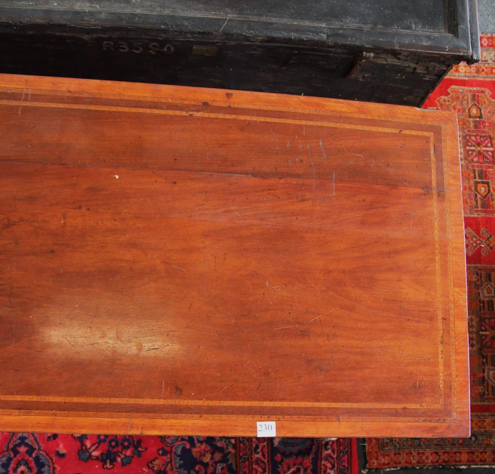 19TH CENTURY MAHOGANY CAMPAIGN SIDEBOARD/DESK, 6 SCREW IN LEGS, 3 DRAWERS, INLAID BANDING, MEASURES 170CM W X 62CM D X 73.5CM H