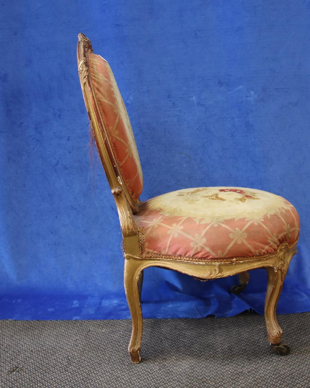 LOUIS XV STYLE GOLD FRENCH BEDROOM/SLIPPER CHAIR, TAPESTRY UPHOLSTERY, CIRCA 1910'S