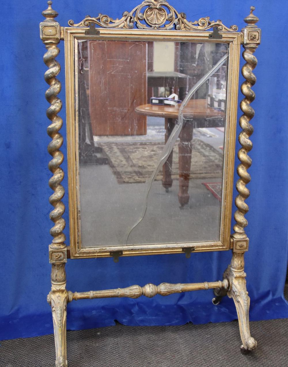 LOUIS XV STYLE FRENCH FIRE SCREEN, GOLD PAINTED, HAND CARVED DECORATIONS WITH BARLEY TWIST COLUMNS TO SIDE, TAPESTRY CENTRE INSERT AND MIRROR INSERT TO REAR, CIRCA 1900'S, MEASURES 81CM W X 140CM H, (DAMAGE TO MIRROR)