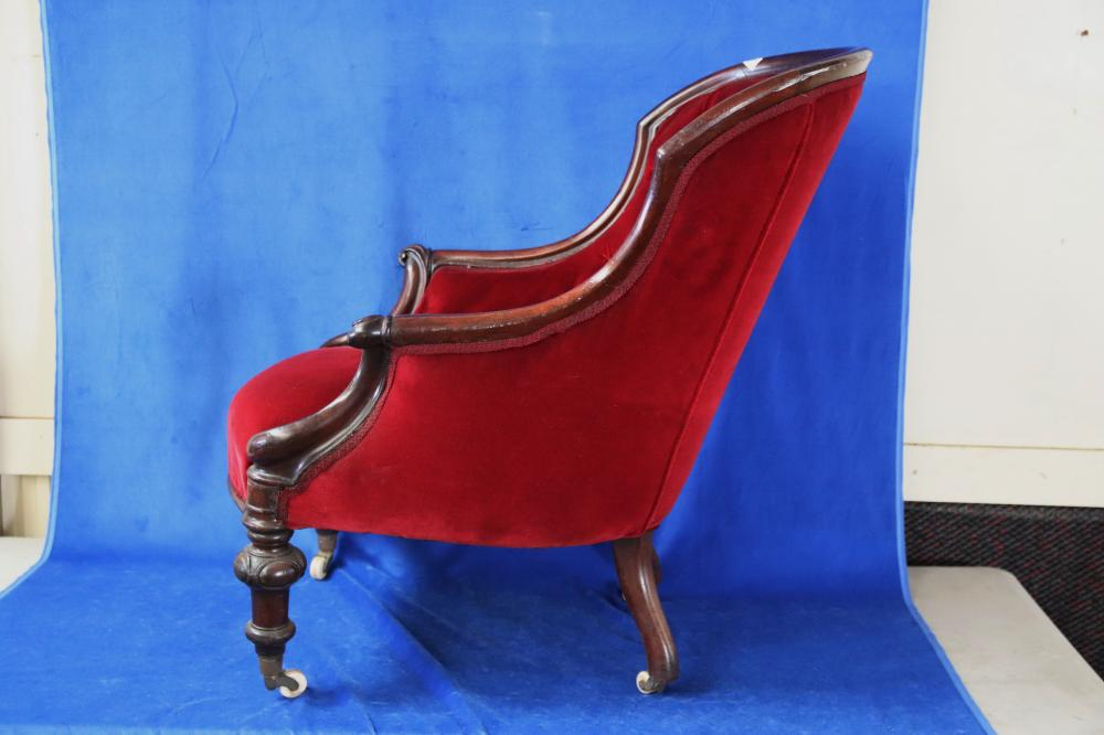COLONIAL CEDAR LIBRARY CHAIR, RED BUTTON BACK VELVET UPHOLSTERY,