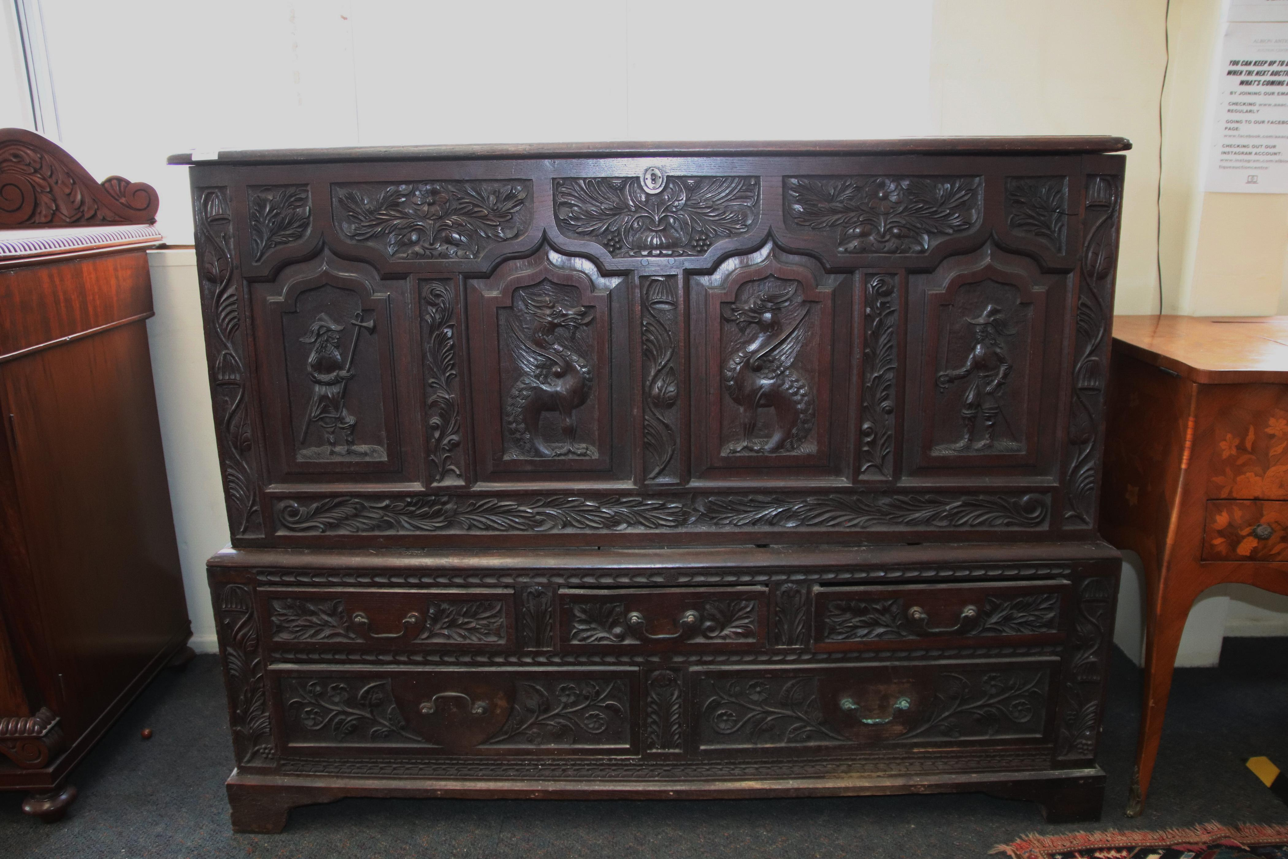 19TH CENTURY HAND CARVED OAK MULE CHEST, HAND CARVED PANEL FRONTS, LATTER ADDITIONS TO SIDES, MEASURES 140CM W X 60CM D X 105CM H