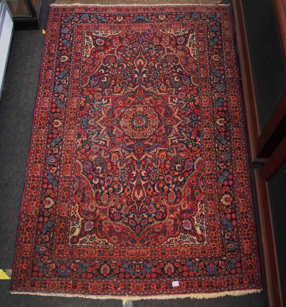 ANTIQUE PERSIAN HAND KNOTTED WOOL FLOOR KILIM, RED AND BLUE MEDALLION AND BORDER PATTERN, MEASURES 130CM X 198CM (WEAR)