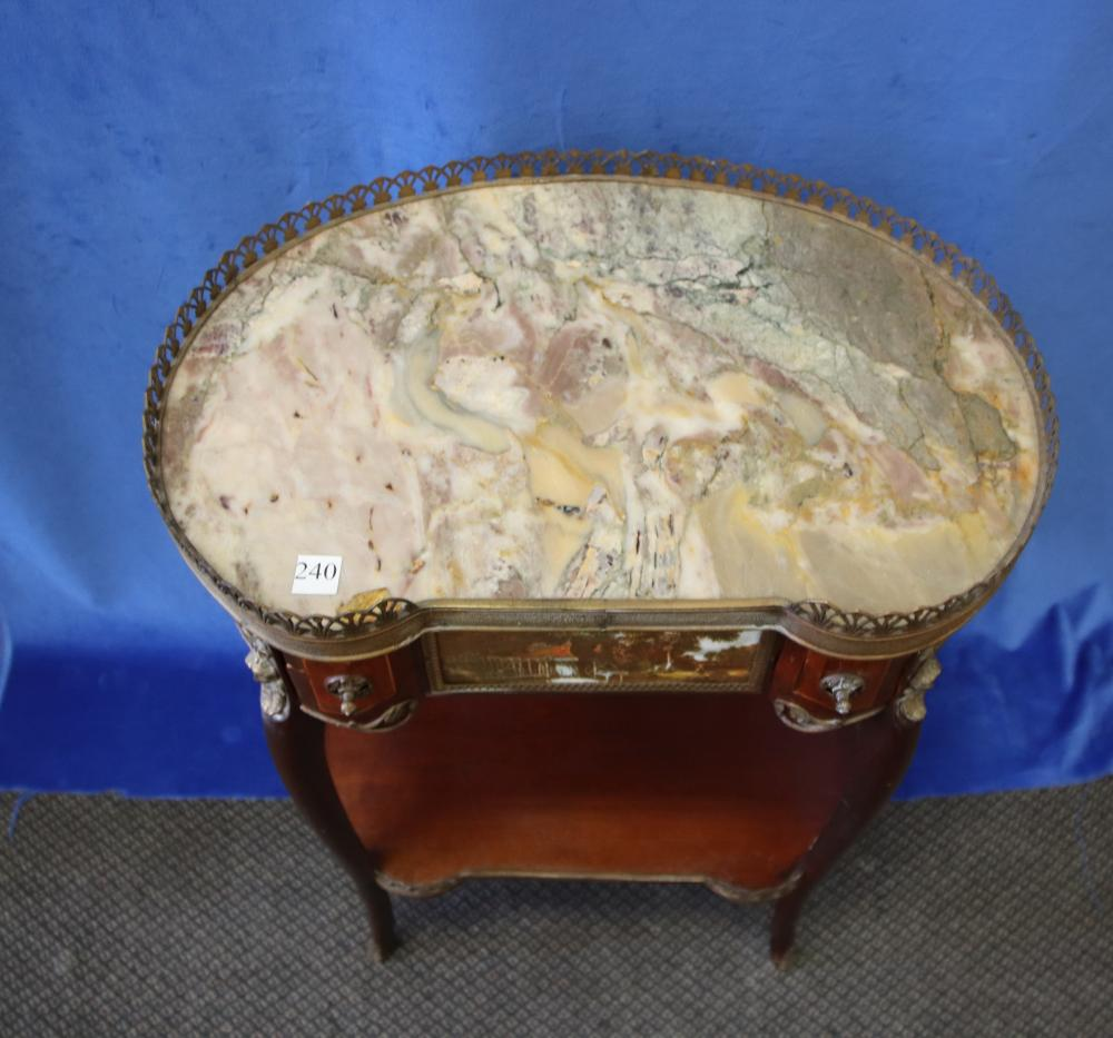 LOUIS XV STYLE MARBLE TOP SIDE TABLE, KIDNEY SHAPED, GREY MARBLE TOP, ORMOLU MOUNTS AND HAND PAINTED CENTRE DRAWER, CIRCA 1970'S MEASURES 54CM W X 36CM D X 70CM H