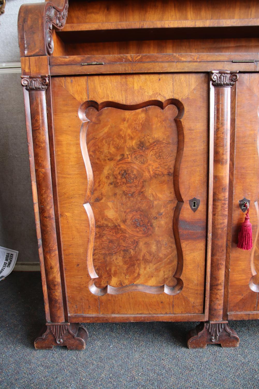 19TH CENTURY MAHOGANY BIEDERMEIER BUFFETT, 3 DOORS, WITH OAK FILING DRAWERS INSIDE, FOLDING WORK AREA, MEASURES 164CM W X 48CM D X 128 CM H