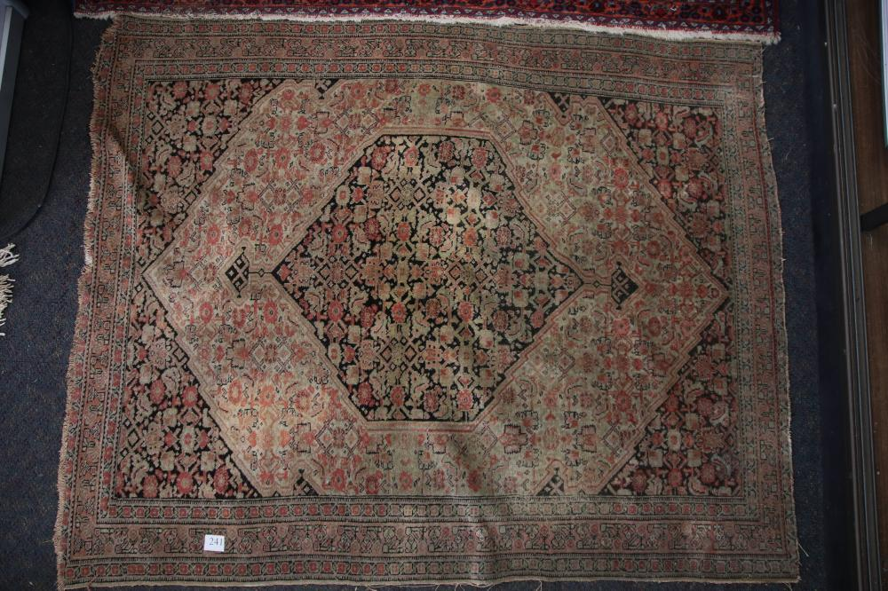 ANTIQUE PERSIAN HAND KNOTTED WOOL PRAYER RUG, RED AND CREAM MEDALLION AND BORDER PATTERN, MEASURES 120CM X 96CM (WEAR AND FRAYED EDGES)