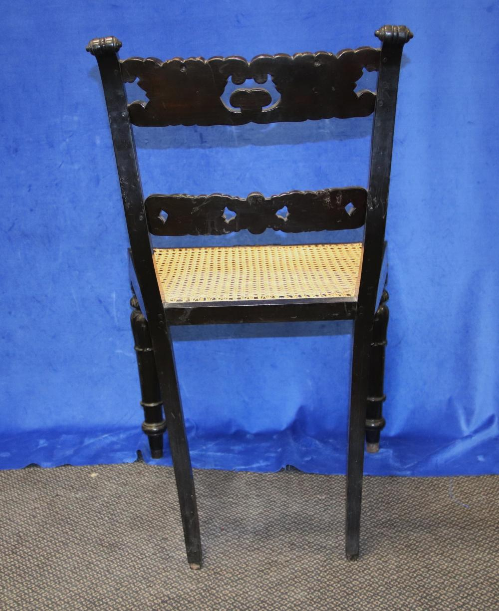 SET OF 6 19TH CENTURY ENGLISH ANGLO- INDIAN CARVED EBONY DINING CHAIRS, CANE SEATED, FINELY CARVED BACKS, STRUCTURALLY SOUND, ONE CANE INSERT HAS MINOR DAMAGE