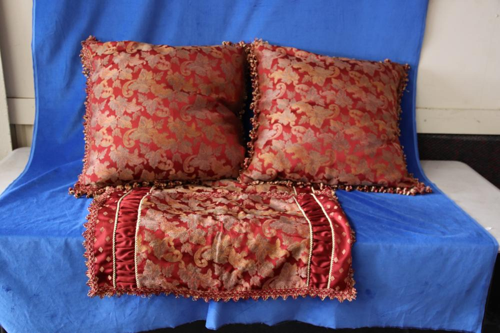 GOLD AND MAROON HAND EMBROIDED BED COVER AND PILLOWS AND CASES