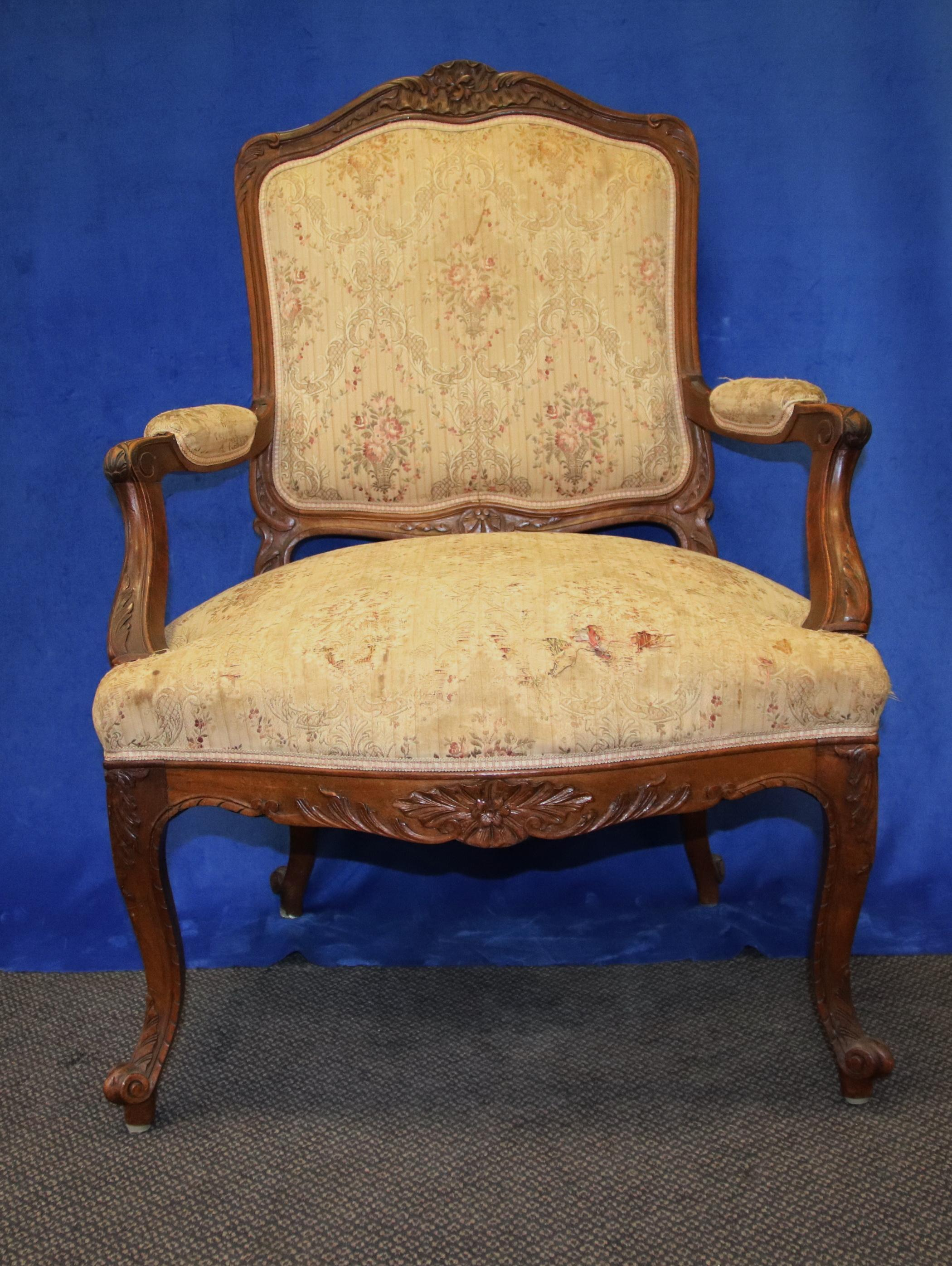 FRENCH BERGERE ARMCHAIR, OAK FRAMED, TAPESTRY UPHOLSTERY, CIRCA 1920'S