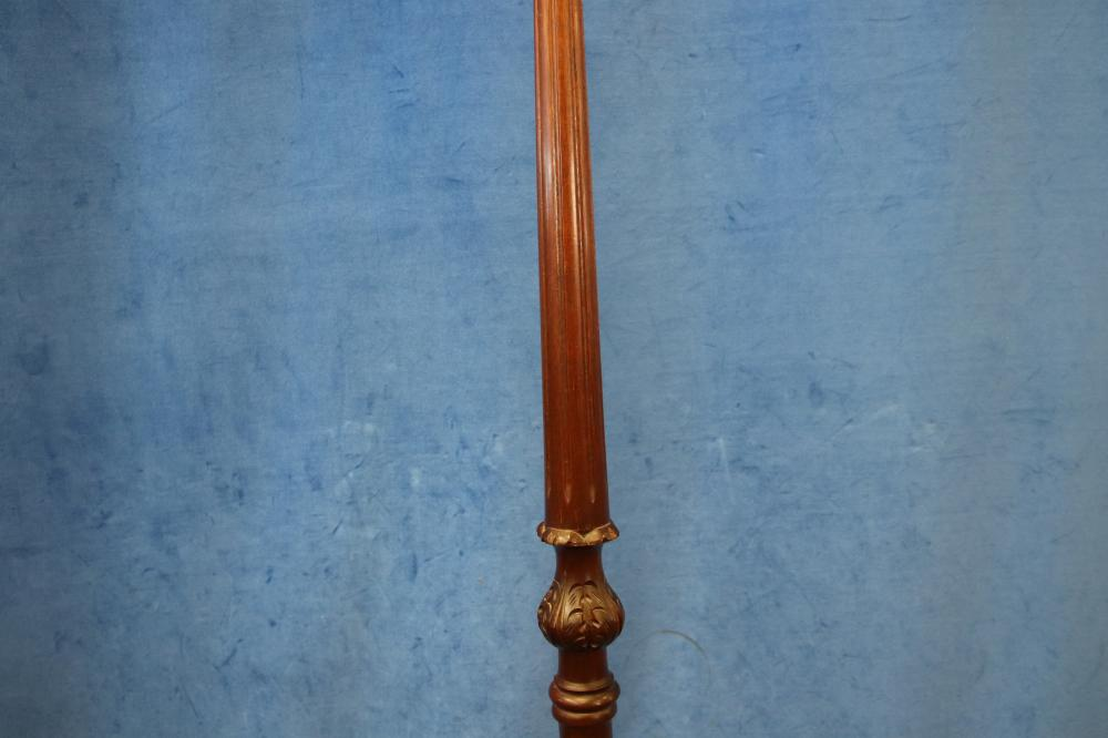 STANDARD LAMP, MAHOGANY, TRI-FOOTED BASE, REGENCY STYLE, CIRCA 1960'S, 140CM TO BATON, (NO SHADE, NEEDS TO BE TAGGED AND TESTED BEFORE USE)