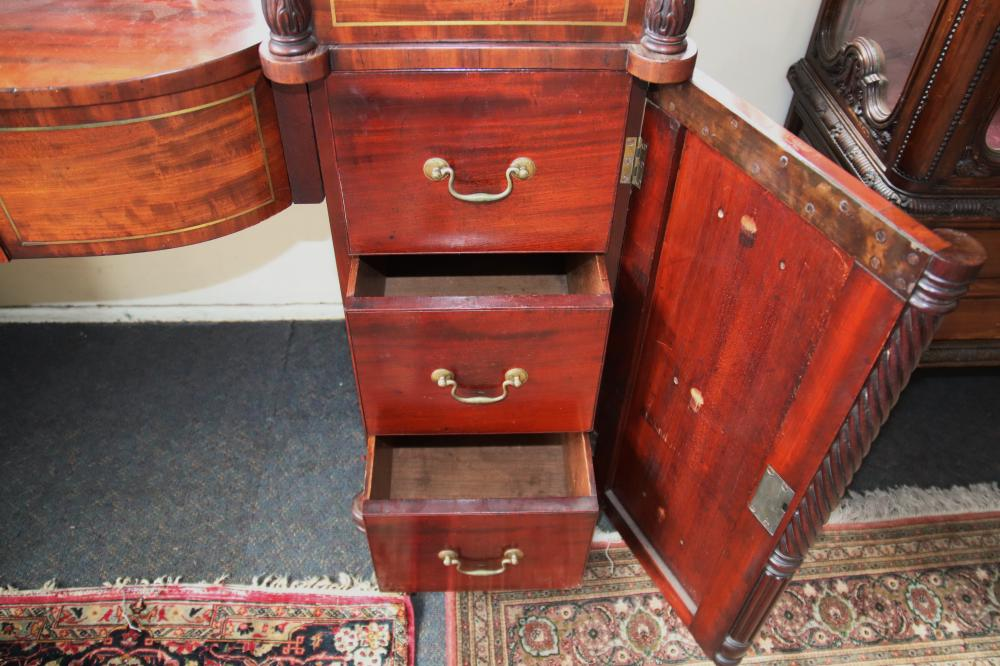 19TH CENTURY ENGLISH MAHOGANY PEDESTAL SIDEBOARD, CENTRE DRAWER, 2 DOORS WITH FLAME MAHOGANY FRONTS, MEASURES 158CM W X 97CM H X 70CM D (CRACK TO SIDE, BACKBOARD, AND TOP, VENEER DAMAGE)