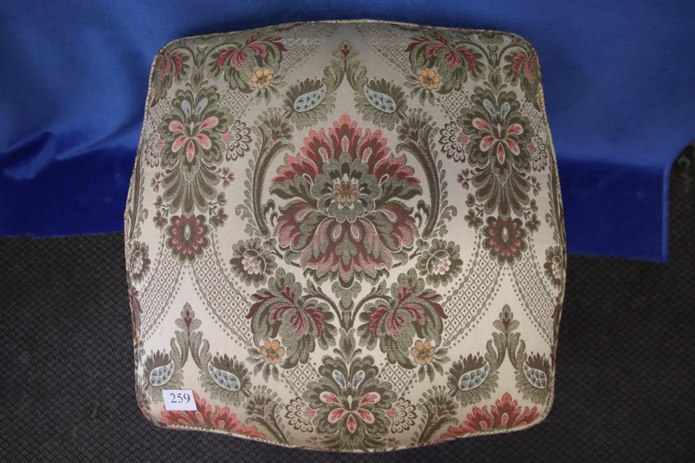 FRENCH LOUIS XV STYLE FOOTSTOOL, HAND CARVED OAK FRAME, FLORAL UPHOLSTERY, CIRCA 1920'S, MEASURES 46CM X 46CM X 50CM H