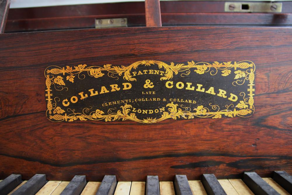 19TH CENTURY SQUARE PIANO BY COLLARD AND COLLARD LONDON, ROSEWOOD AND MAHOGANY TIMBER FRAME, SCREW IN LEGS, 70 CM D X 85CM H X 180CM W
