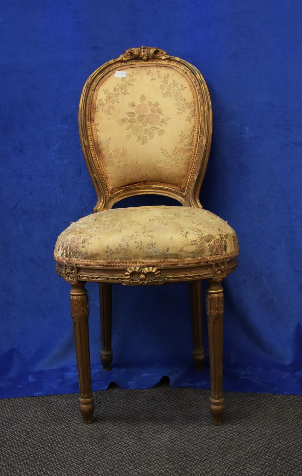 LOUIS XV STYLE GOLD FRENCH BEDROOM CHAIR, GOLD FABRIC UPHOLSTERY, CIRCA 1910'S