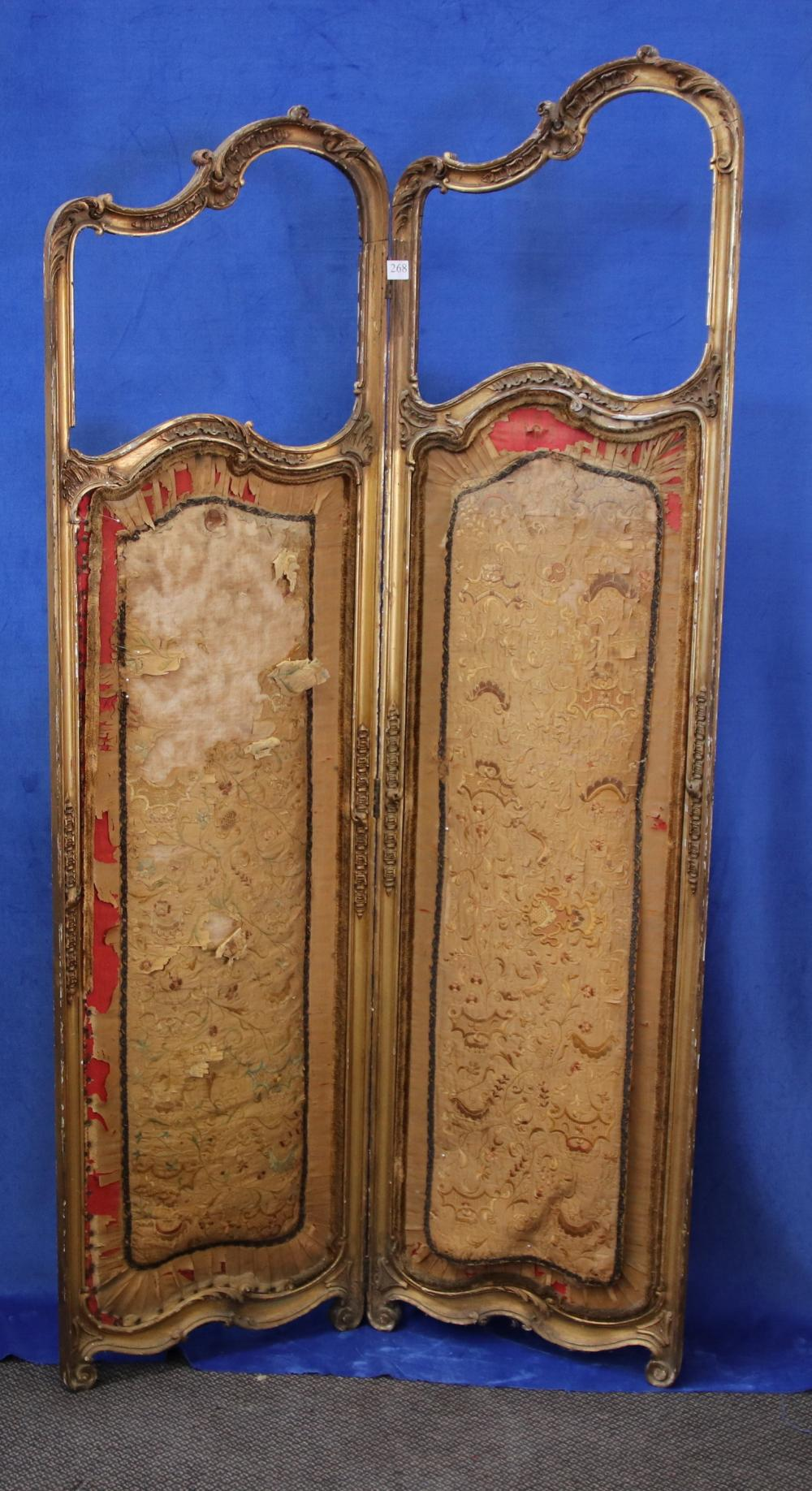 FRENCH 2 PANEL PRIVACY SCREEN, GOLD GILT FRAME WITH UPHOLSTERY CENTRE PIECE (POOR CONDITION) MEASURES 180CM H X 95CM W