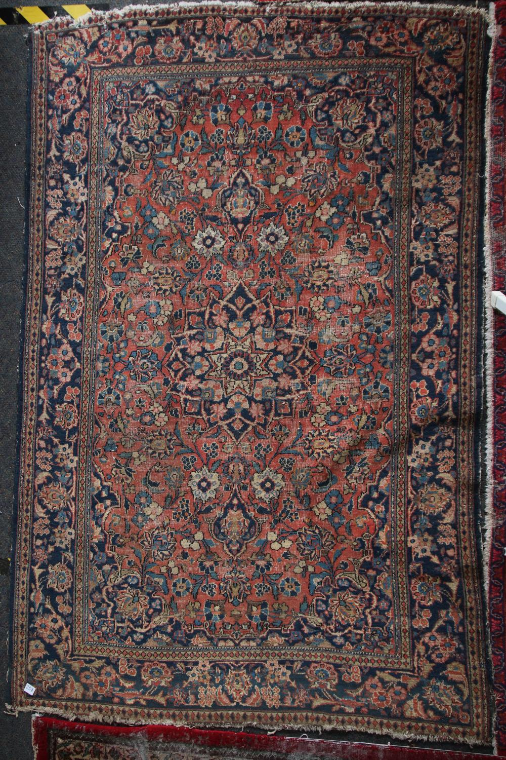 ANTIQUE PERSIAN HAND KNOTTED WOOL FLOOR RUG, PEACH, CREAM AND BLUE MEDALLION AND BORDER PATTERN, MEASURES 126CM X 200CM (WEAR AND FRAYED EDGES)