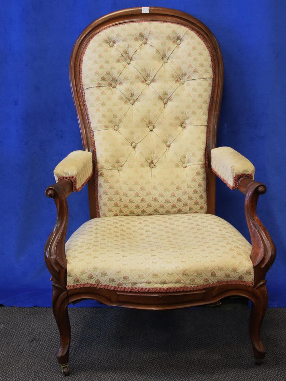 19TH CENTURY EUROPEAN MAHOGANY RECLINING HIGH BACK ARM CHAIR, MAHOGANY FRAME WITH CREAM FLORAL UPHOLSTERY, UNDER ARM METAL RECLINING MECHANISM