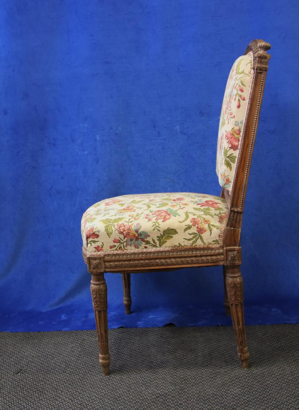 FRENCH LOUIS XV STYLE BEDROOM CHAIR, HAND CARVED OAK FRAME, FLORAL UPHOLSTERY, CIRCA 1920'S,