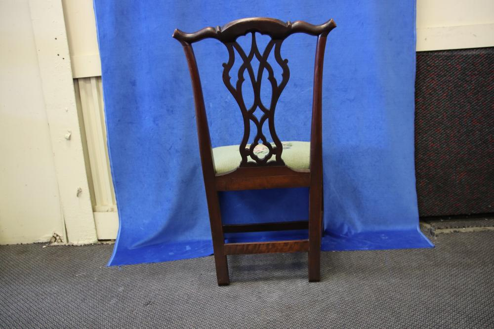 LATE 18TH/ EARLY 19TH CENTURY ENGLISH MAHOGANY HALL/BEDROOM CHAIR, CHIPPENDALE STYLE WITH FRETWORK BACK, DROP IN TAPESTRY COVERED SEAT,
