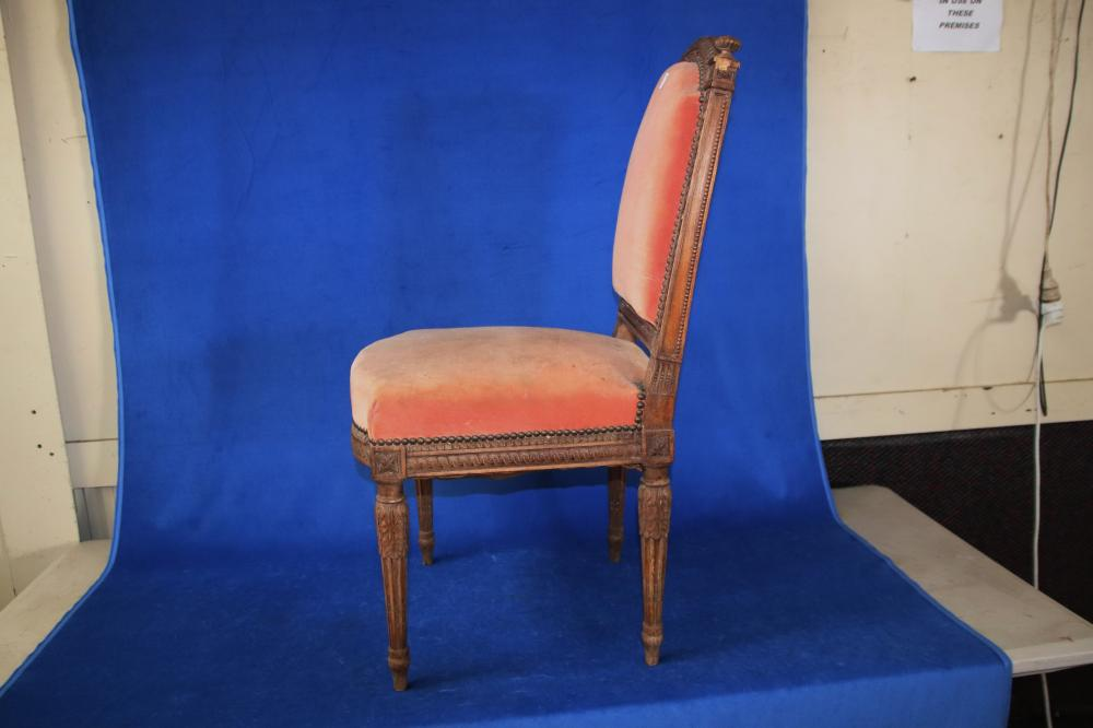 FRENCH LOUIS XV STYLE BEDROOM CHAIR, HAND CARVED OAK FRAME, PEACH COLOURED FABRIC UPHOLSTERY, CIRCA 1920'S,