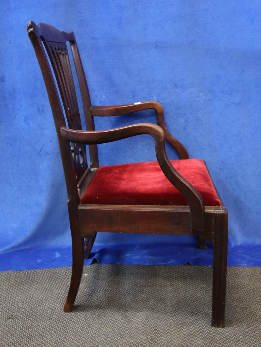 LATE 18TH/ EARLY 19TH CENTURY ENGLISH MAHOGANY DESK/CARVER CHAIR, FRETWORK BACK, DROP IN SEAT, (REPAIRED BACK LEGS)