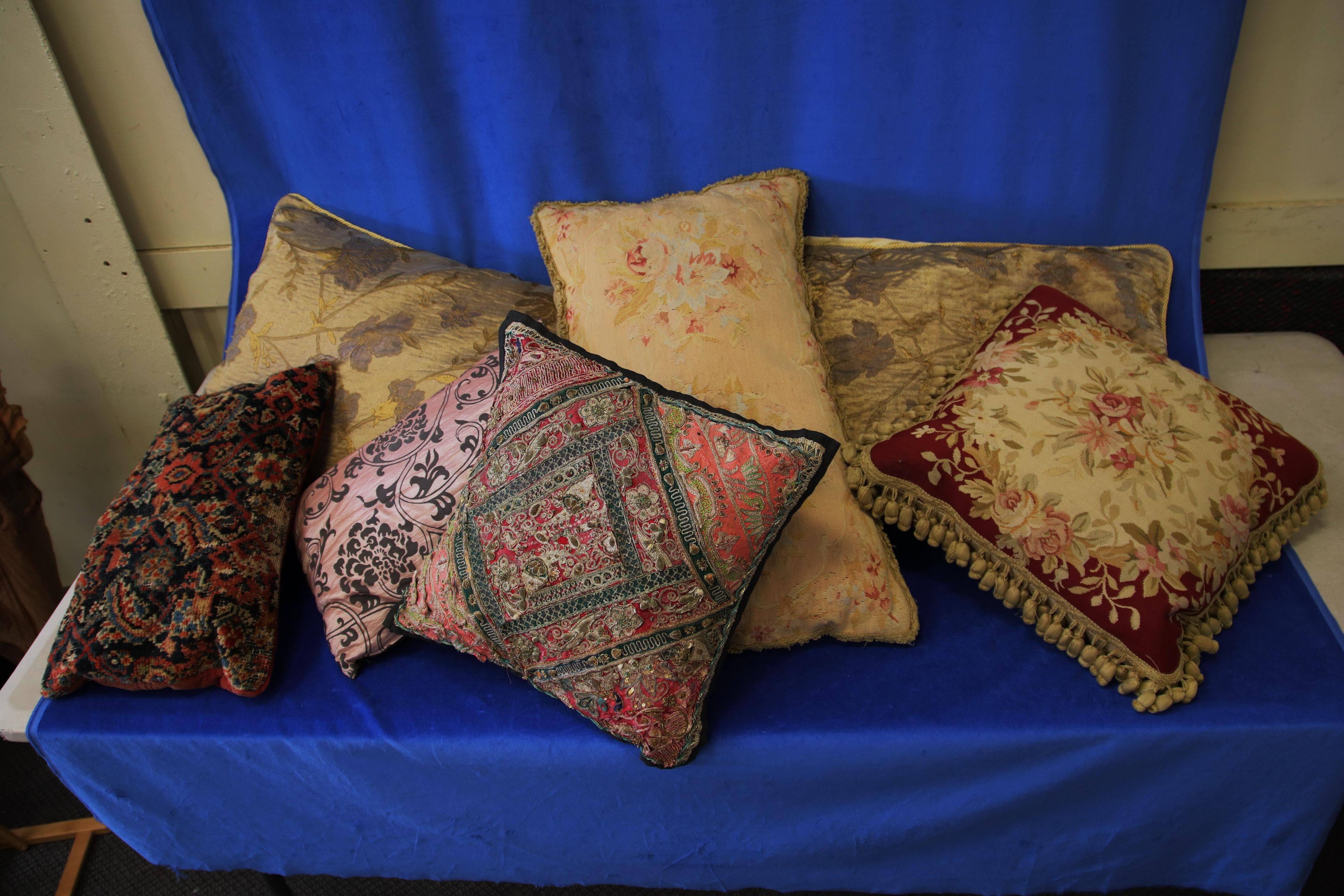 7 ASSORTED THROW PILLOWS, ASSORTED SHAPES AND COLOURS