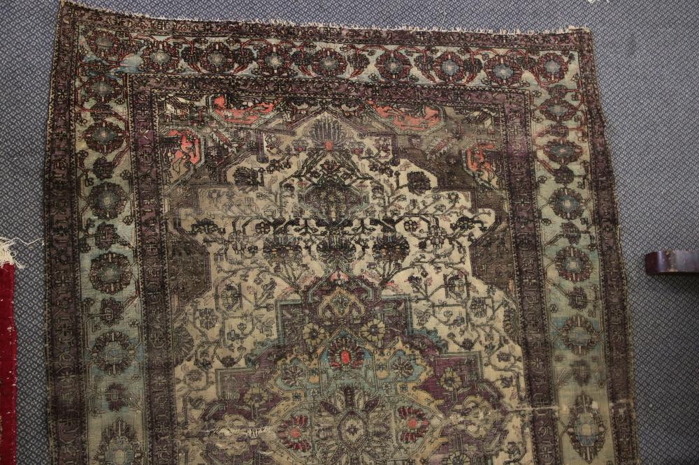 ANTIQUE HAND KNOTTED WOOL FLOOR KILIM, PURPLE AND CREAM MEDALLION PATTERN, MEASURES 200CM X 134CM (HEAVY WEAR, FADED, AND FRAYED EDGES)