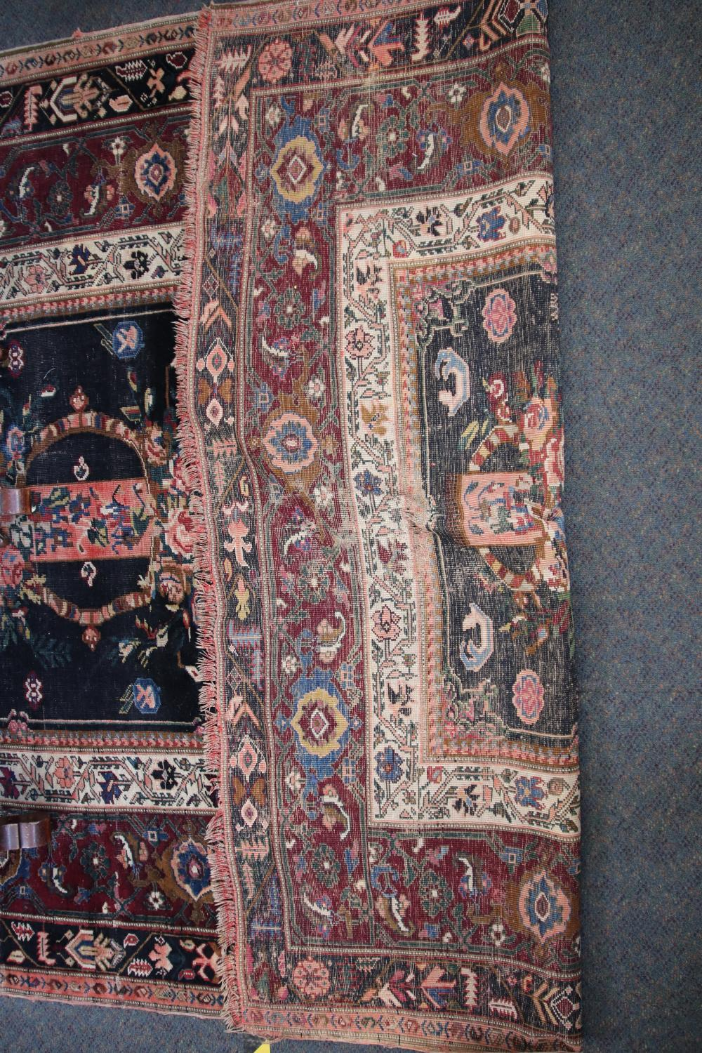 ANTIQUE PERSIAN (KARABAGH REGION) HAND KNOTTED WOOL LONG RUG, WITH BLUE, MAROON AND CREAM FRENCH ROSE PATTERN FLORAL MEDALLION AND BORDER, MEASURES 178CM X 374CM (WEAR AND FRAYED EDGES)