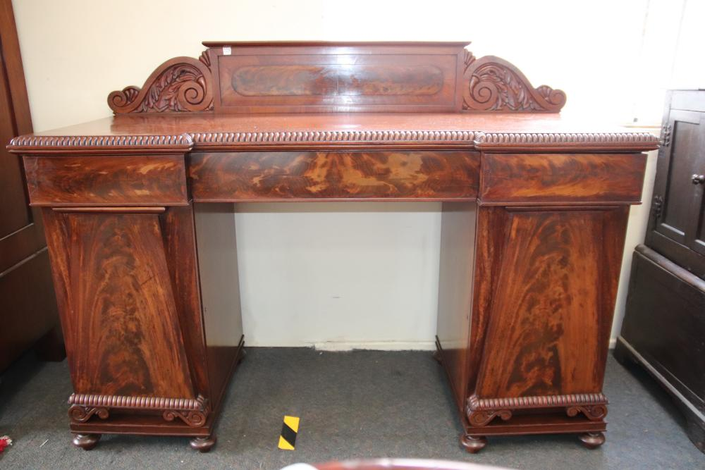 19TH CENTURY ENGLISH MAHOGANY PEDESTAL SIDEBOARD, 3 DRAWER, 2 DOORS WITH FLAME MAHOGANY FRONTS, MEASURES 165CM W X 120CM H X 66CM D 9WEAR, FRAYED EDGES)