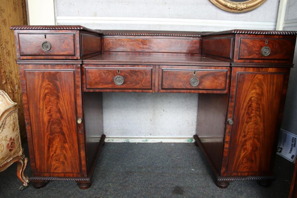 19TH CENTURY ENGLISH MAHOGANY PEDESTAL SIDEBOARD, 4 DRAWERS, 2 DOORS, MEASURES 150CM W X 95CM H X 70CM D (CRACK TO TOP)