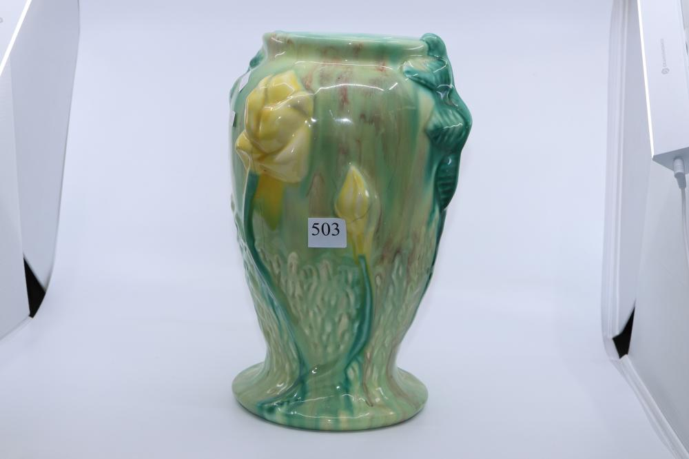 PAIR LARGE AUSTRALIAN POTTERY DRIP GLAZE VASES AS FOUND. ONE HAD BAD CHIP TO THE RIM, OTHER HAS MINOR CRACKING