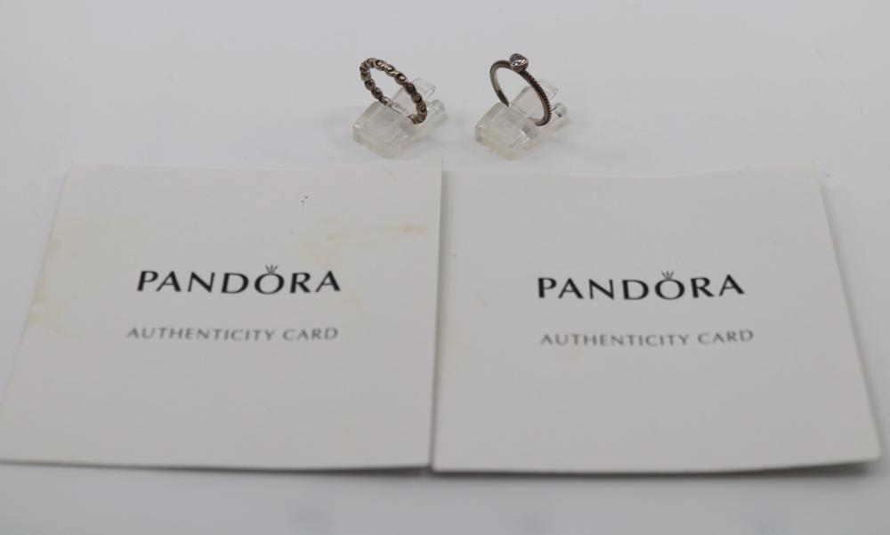 2 X STERLING SILVER PANDORA RINGS, 5.2 GRAMS TOTAL WEIGHT, SIZE O 1/2