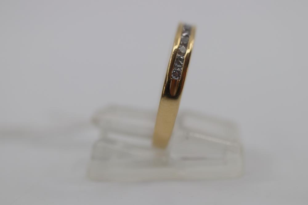 14CT YELLOW GOLD AND DIAMOND RING, MAGIC GLO, WITH 12 DIAMONDS TO BAND, 3.2 GRAMS, SIZE N 1/2