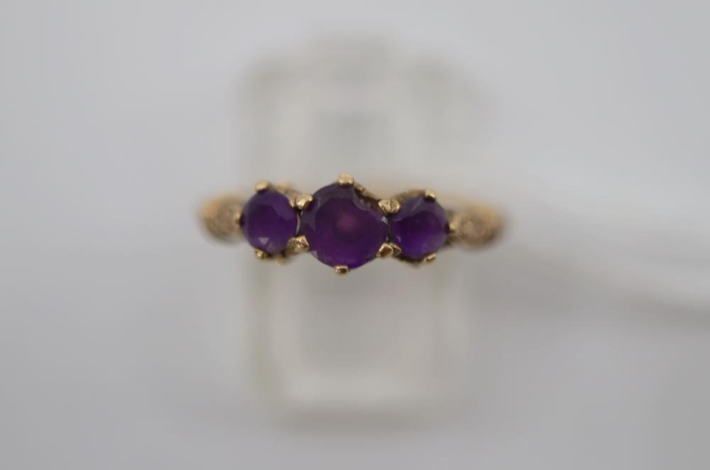 9CT AND 3 STONE AMETHYST RING SIZE L, 2.3 GRAMS TOTAL WEIGHT