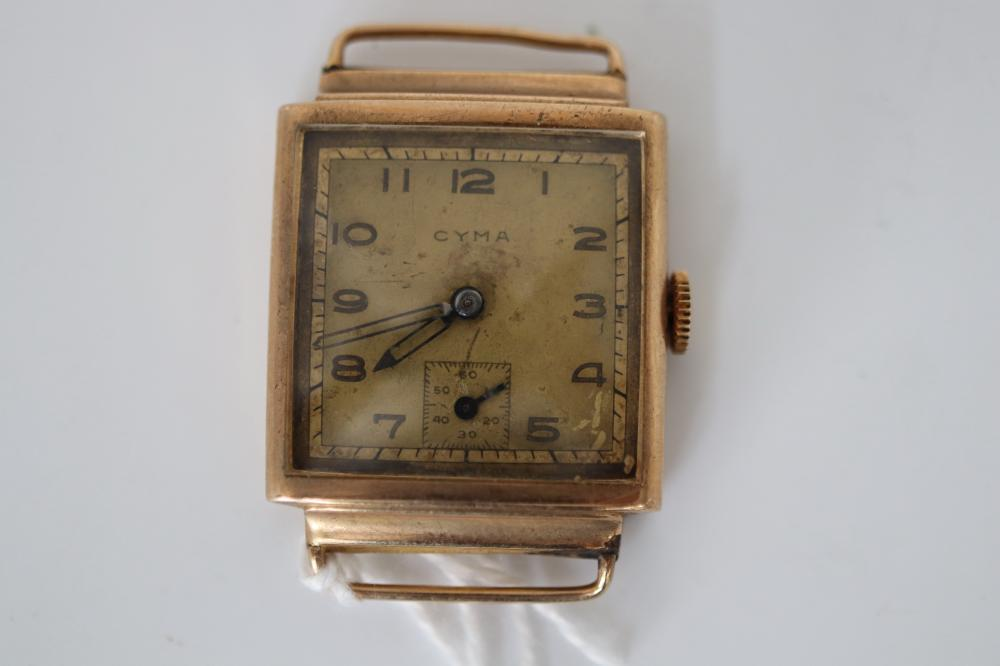 UNMARKED 14CT CASED CYMA WATCH