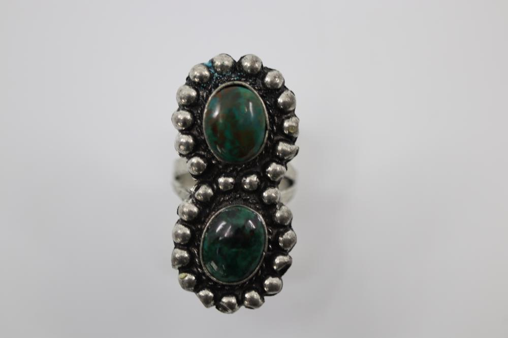 GREEN TURQUOISE NORTH AMERICAN RING, SIZE J