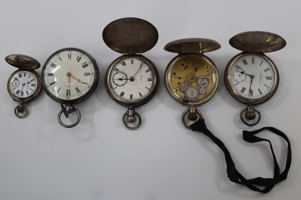 5 HALL MARKED STERLING SILVER CASED POCKET WATCHES ( PARTS ONLY)