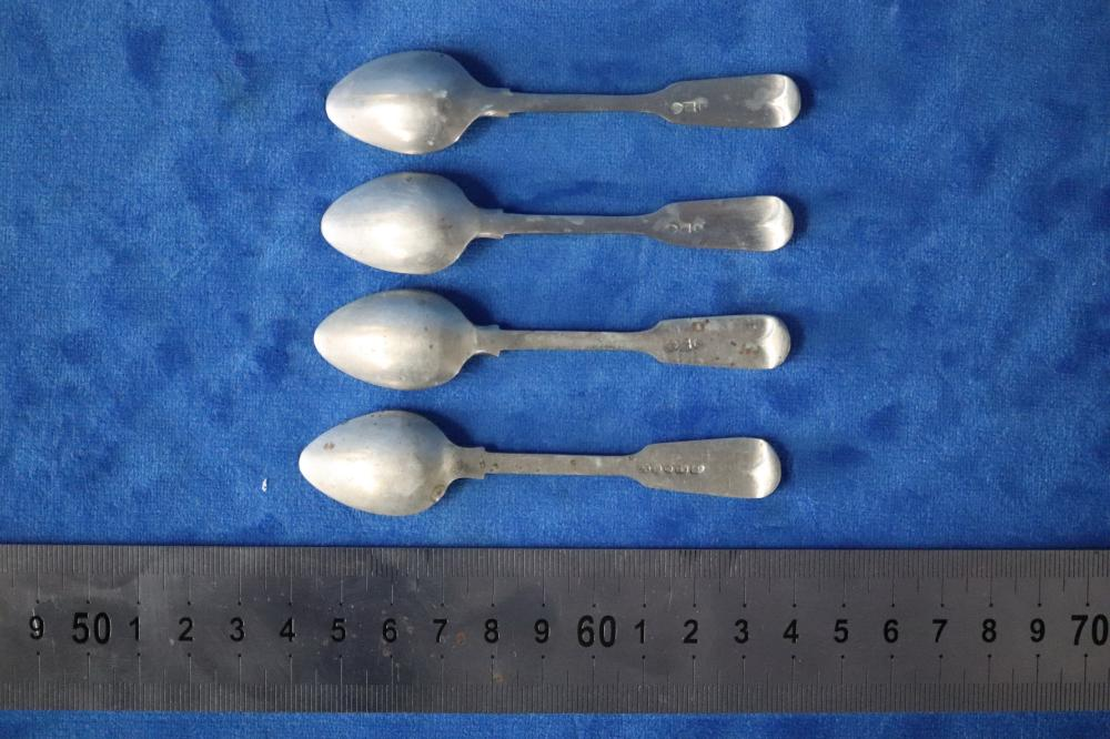 4 HMSS TEA SPOONS, 37.5 GRAMS TOTAL WEIGHT
