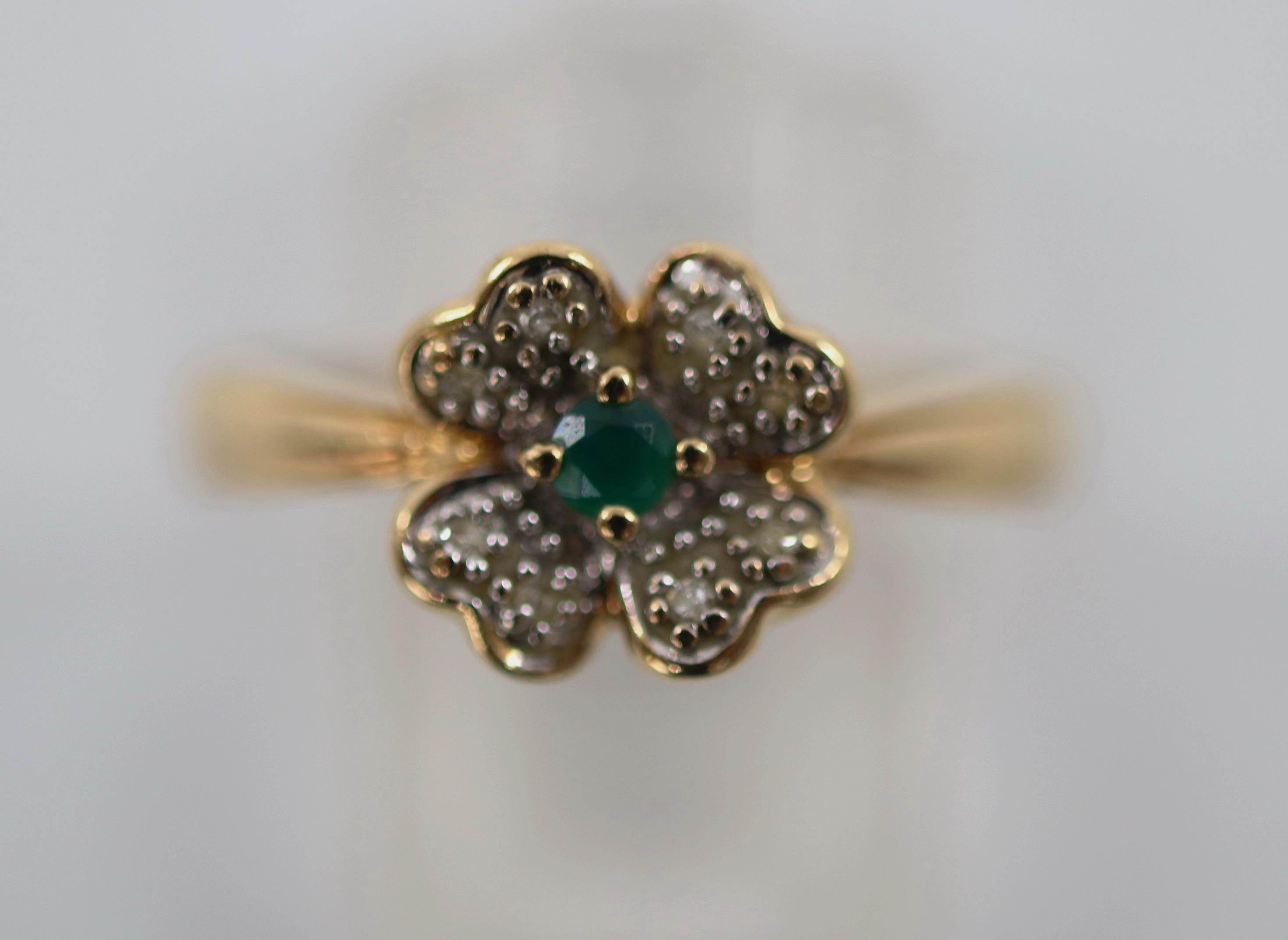 9CT HALLMARKED NATURAL EMERALD & DIAMOND RING, 1.5 GRAMS TOTAL WEIGHT, SIZE N