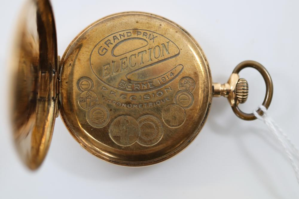 14K CASED FOB WATCH ELECTION GRAND PRIX BERNE 1914 WITH LEATHER CASE (DAMAGED)