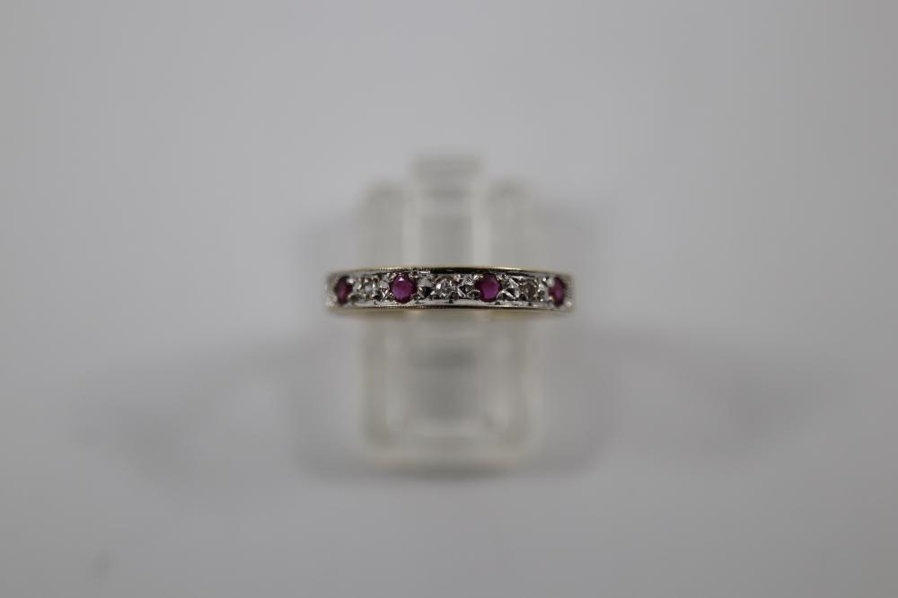 9CT HALLMARKED NATURAL RUBY & DIAMOND HALF HOOP RING, 1.5 GRAMS TOTAL WEIGHT, SIZE P