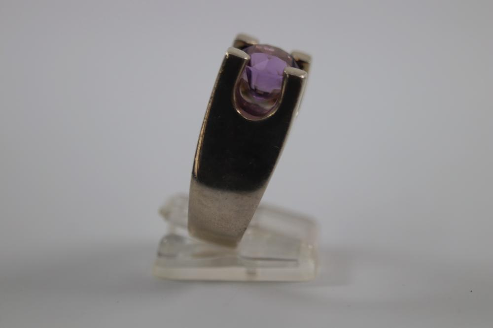 MODERNIST STERLING SILVER AMETHYST RING SIZE T, 13 GRAMS TOTAL WEIGHT