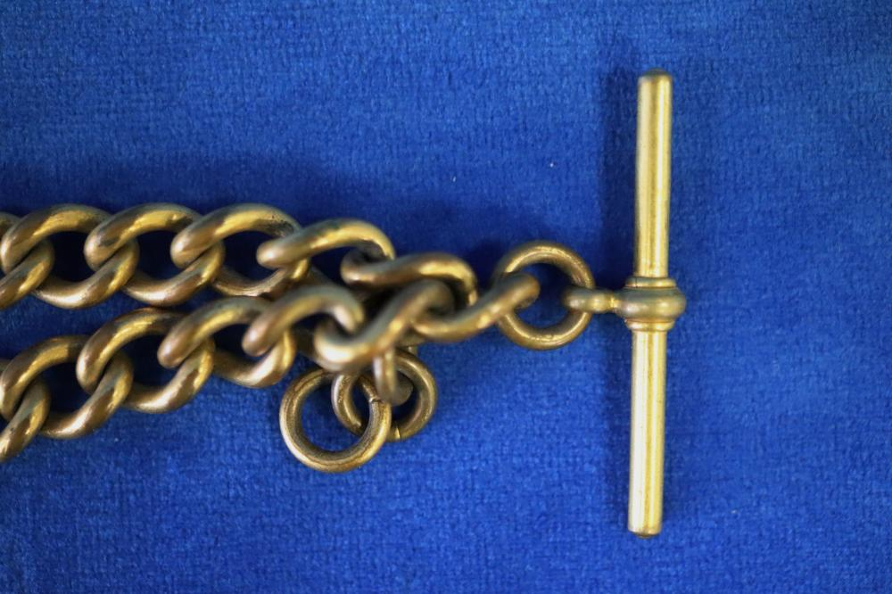 QTY OF GOLD PLATED FOB WATCH CHAINS INC 1 9CT HOOK