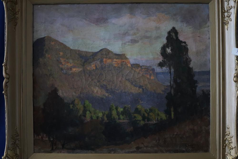 JOHN SALVANA (1873-1956) BLUE MOUNTAINS 1937, OIL ON CANVAS, SIGNED LOWER RIGHT, MEASURES 56CM X 55CM