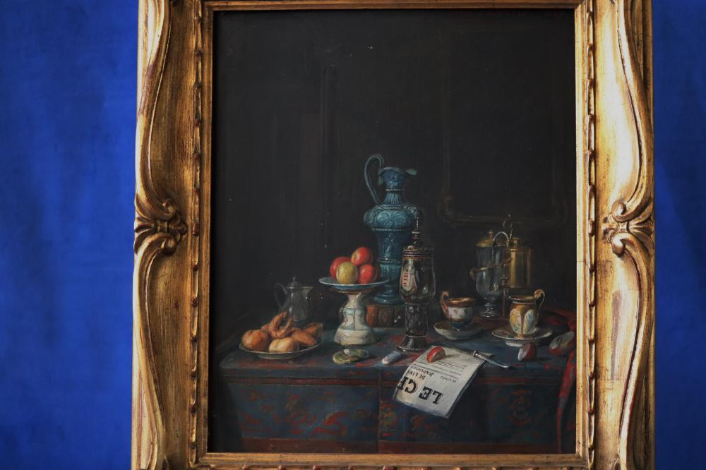 JOSEF MANSFELD (AUSTRIAN 1819-1894) 2 X STILL LIFE, 1890, OIL ON BOARD, SIGNED AND DATED UPPER RIGHT 1890 AND OTHER 1889, BOTH MEASURE 25CM X 30CM