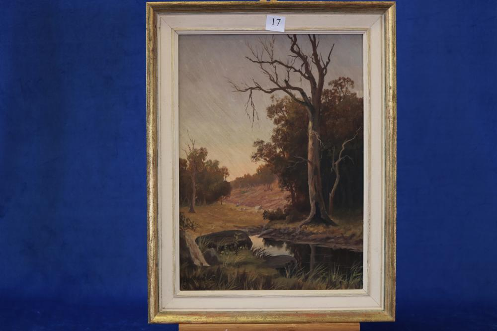 ELLEN MAGDALEN LEWIS (1844-1934) BILLABONG '90, OIL ON ARTIST BOARD, SIGNED WITH INITIALS AND DATED LOWER LEFT, MEASURES 41CM X 30CM