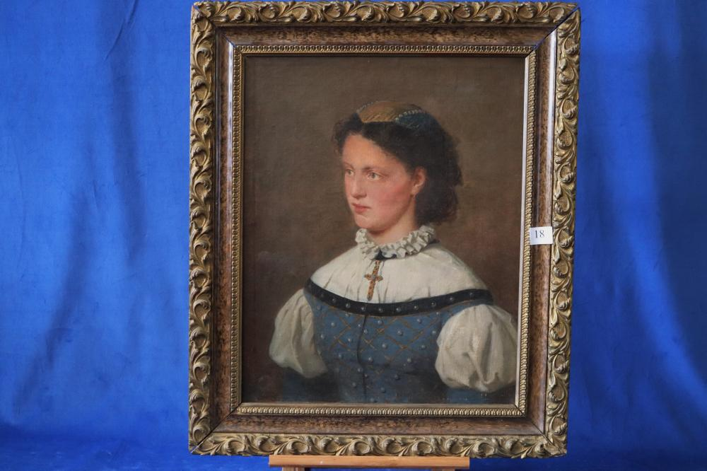 OTTO RETHEL (GERMAN 1822-1892) BLUE DRESS, OIL CANVAS SIGNED LEFT CENTRE, MEASURES 50CM X 40CM