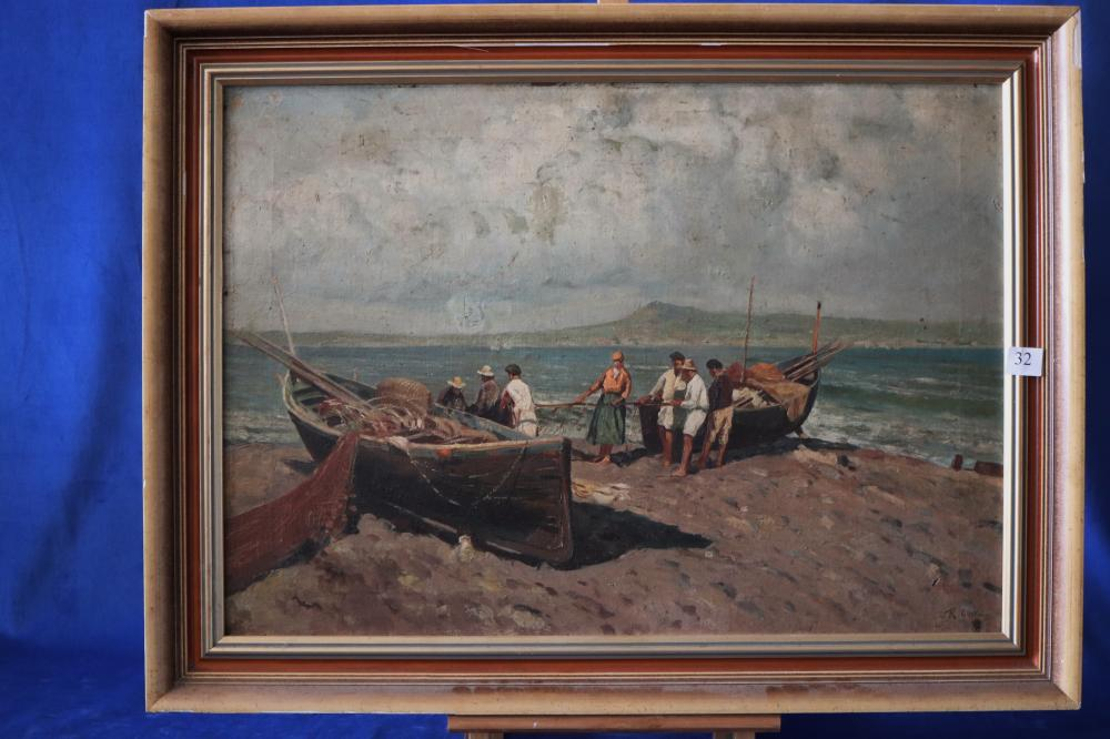 R COSTA, FISHING BOATS AND NETS, OIL ON CANVAS ON BOARD, SIGNED LOWER RIGHT, MEASURES 48CM X 68CM